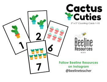 """*FREE* Cactus Cuties Counting Cards 1-10 / 3"""" x 5"""""""