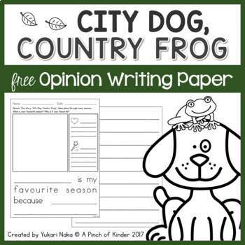 {FREE} City Dog, Country Frog Option Writing Paper