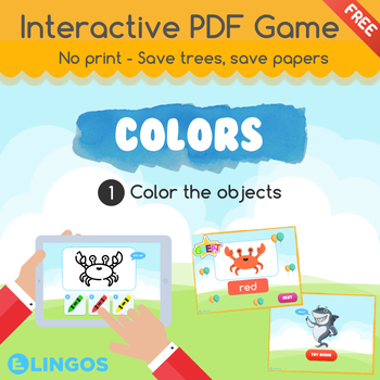 [FREE] Practice COLORS | Interactive PDF Game - No print | Color the objects