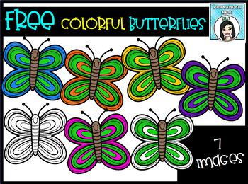 (FREE) Colorful Butterflies Clip Art