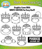 FREE Crowns Blank Face Characters Clipart {Zip-A-Dee-Doo-Dah Designs}