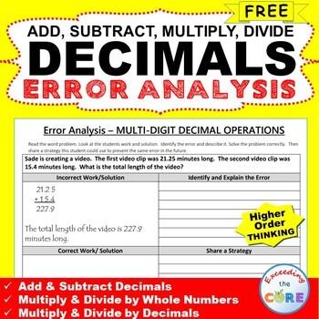 ~FREE~ DECIMALS Word Problem -  Error Analysis  (Find the Error)