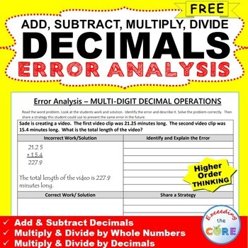 ~FREE~ DECIMALS Word Problem -  Error Analysis  (Find the Error)