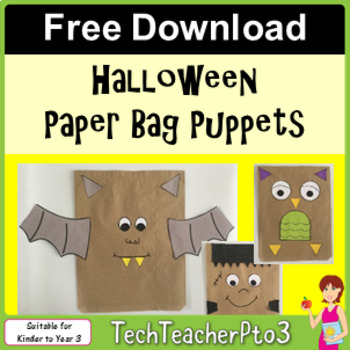 FREE DOWNLOAD Halloween Paper Bag Puppets