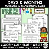 *FREE* Days & Months Worksheets, Mini Books • Color Cut Glue Write • Fine Motor