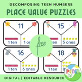 *FREE* Decomposing Teen Numbers Place Value Puzzles for Ma