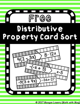 (FREE) Distributive Property Matching Card Sort