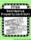(FREE) Distributive Property Matching Card Sort