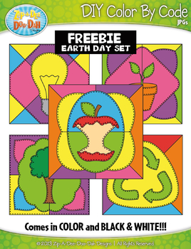{FREE} EARTH DAY Quilt Create Your Own Color By Code Clipart Set