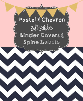 free editable pastel and chevron binder covers and spines tpt