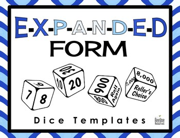 *FREE* Expanded Form Dice Templates *8 Templates*