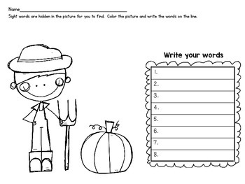 *FREE* Fall Sight Word Search and Find