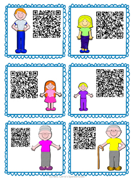 {FREE} Family and adjectives spanish cards with QR codes