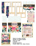 Floral Pink Blue Teacher Stationary Binder Calendar Newsle