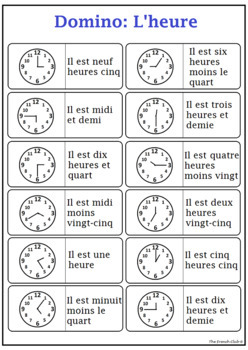 *FREE* French Domino Game: Quelle heure est-il ?