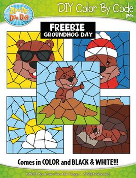 FREE GROUNDHOG DAY Color By Code Clipart {Zip-A-Dee-Doo-Dah Designs}