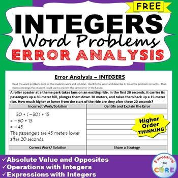 ~FREE~ INTEGERS Word Problem -  Error Analysis  (Find the Error)
