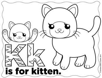 * FREE * K is for Kitten Coloring Page and Mini Clip Art Set