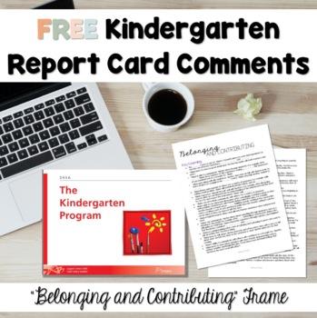 {FREE Kindergarten Report Card Comments: The Ontario Kindergarten Program}