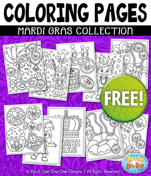 FREE MARDI GRAS Printable Coloring Pages {Zip-A-Dee-Doo-Dah Designs}