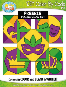 {FREE} MARDI GRAS Quilt Create Your Own Color By Code Clipart Set