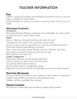 Make a Crazy Animal Possessive Noun Practice Activity Worksheet