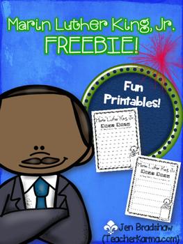 {FREE} Martin Luther King, Jr. Printables ~ MLK ~ Reading