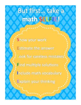 *FREE* Math SELFIE Anchor Sheet
