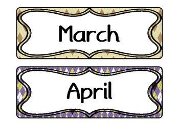 [FREE] Month labels with argyle print | Classroom decoration |