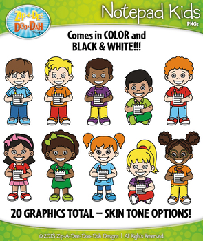 {FREE} Notepad Kid Characters Clipart — Includes 20 Graphics!