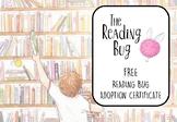 **FREE** Official Reading Bug Adoption Certificate  The Reading Bug Shona Hattin