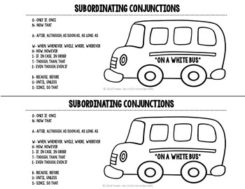 Subordinating Conjunctions for Interactive Student Notebooks!