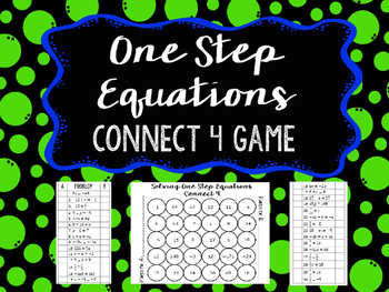 **FREE** One Step Equations Connect 4 Game