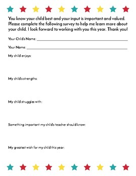 *FREE* Parent Survey/Questionnaire