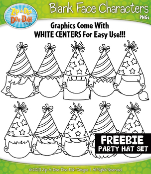 {FREE} Party Hat Blank Face Characters Clipart Set — Inclu