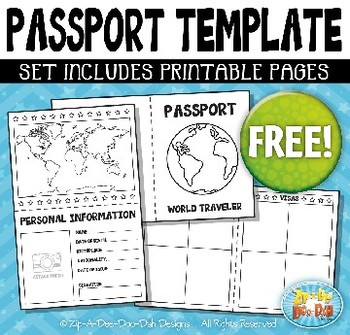 FREE Passport Booklet Template Bundle {Zip-A-Dee-Doo-Dah Designs}