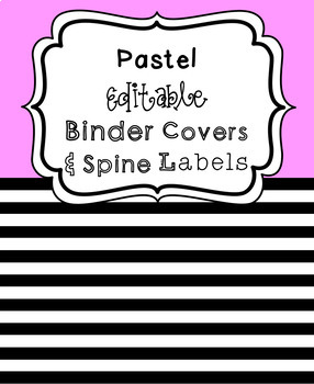 free pastel editable binder covers and spines by algebra in action