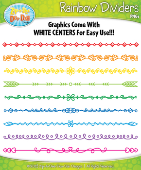 FREE Rainbow Doodle Page Divider Clipart {Zip-A-Dee-Doo-Dah Designs}