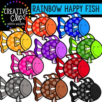 {FREE} Rainbow Happy Fish {Creative Clips Digital Clipart}
