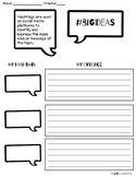 #nofrillsfreebie Reading Response Sheet for Theme: #bigideas