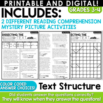 FREE Reading Strategies Mystery Pictures | Text Structure, Main Idea