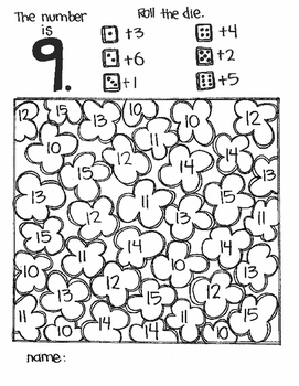 **FREE SAMPLE** The Number Is...Addition part 1 (a roll and color game)