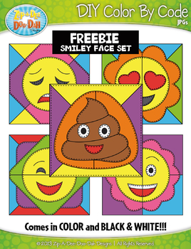 FREE SMILEY FACES Quilt Color By Code Clipart {Zip-A-Dee-Doo-Dah Designs}