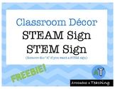 {FREE} STEM or STEAM Sign - Shades of Blues and Greens