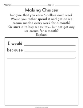 Scarcity Scenarios for Elementary Economics- Making Choices Activity