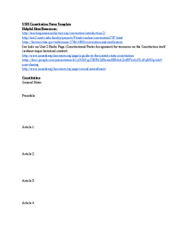 ***FREE***Simple/no frills US History/Gov Constitution Notes Template