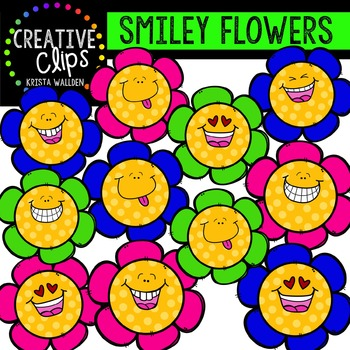 {FREE} Smiley Flowers {Creative Clips Digital Clipart}