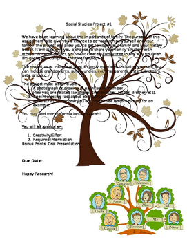 *FREE* Social Studies Family Tree Project Information and Rubric