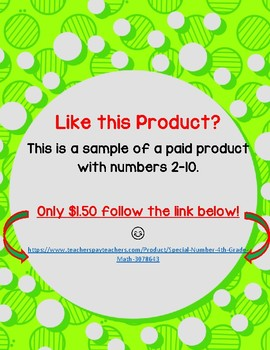 **FREE** Special Number - 4th Grade Math
