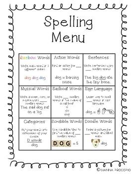 {FREE} Spelling Menu Choice Board